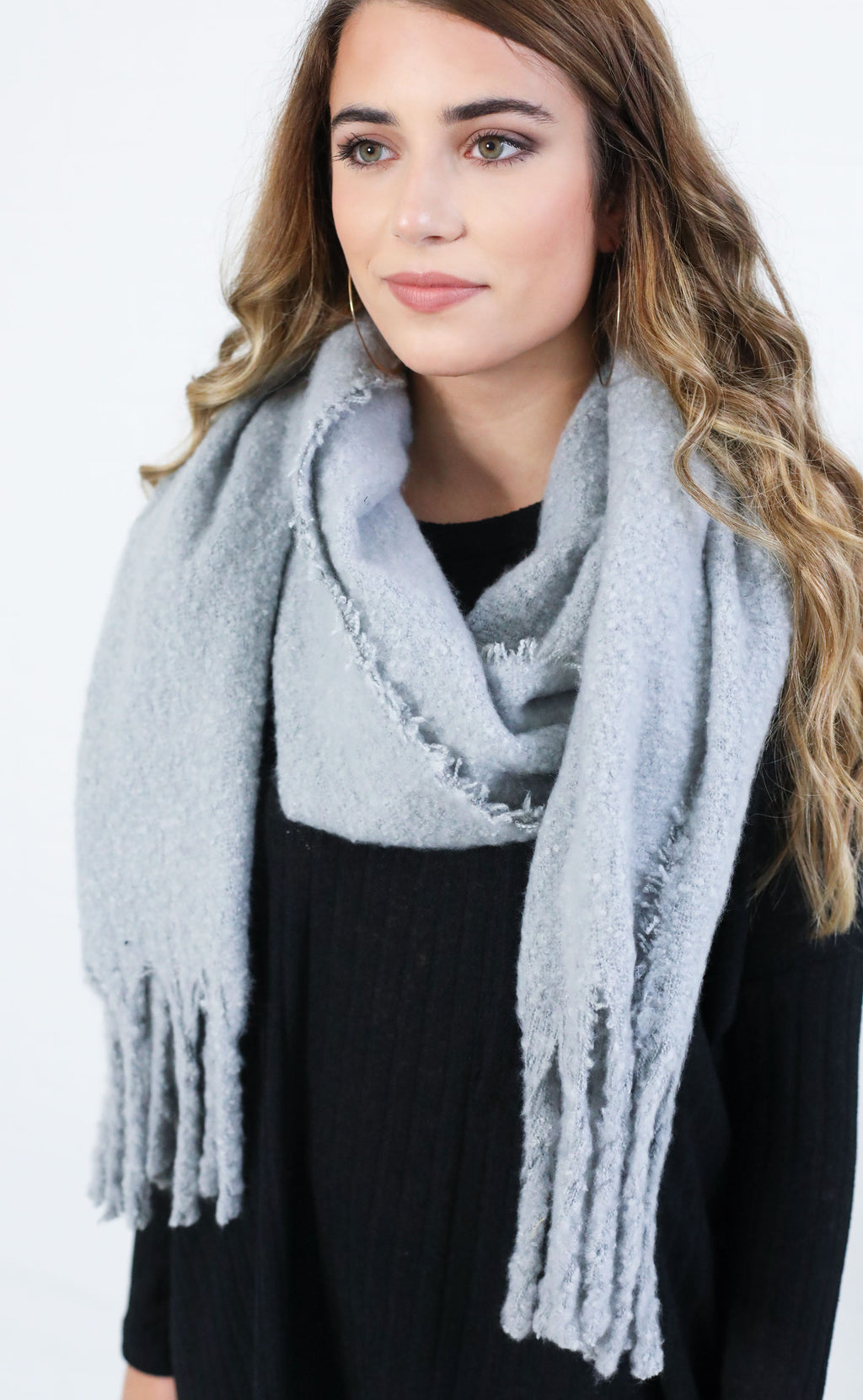 telluride tassel scarf - light grey