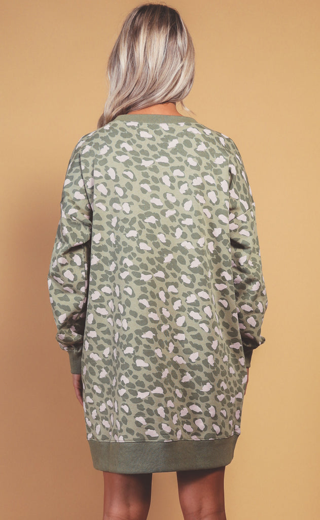 wilder washed leopard tunic - sage