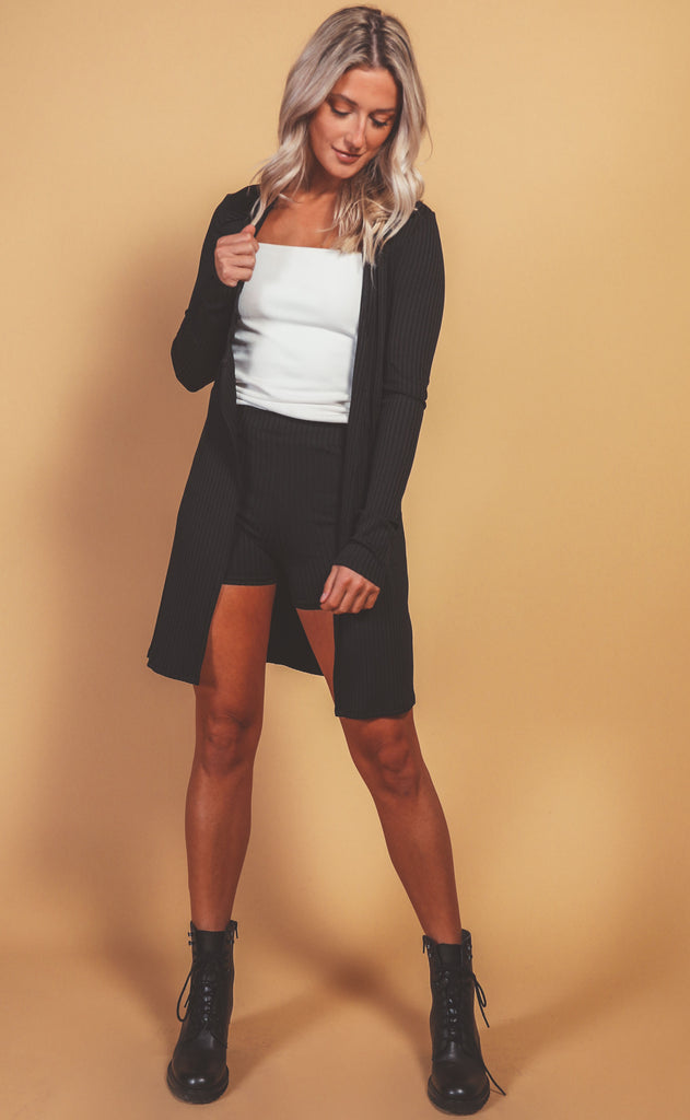 venecchia ribbed cardigan and short set