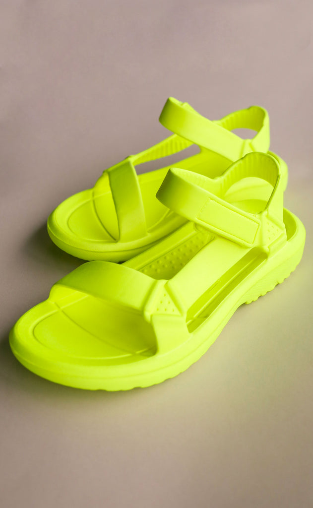 on the go sandals - neon yellow