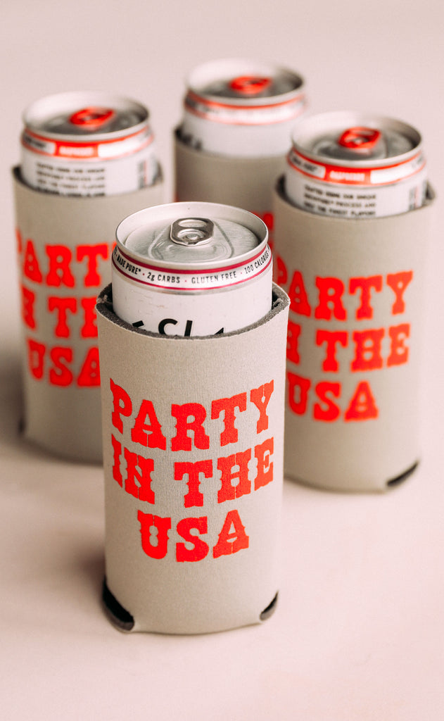 charlie southern: party in the usa skinny drink sleeve - set of 4