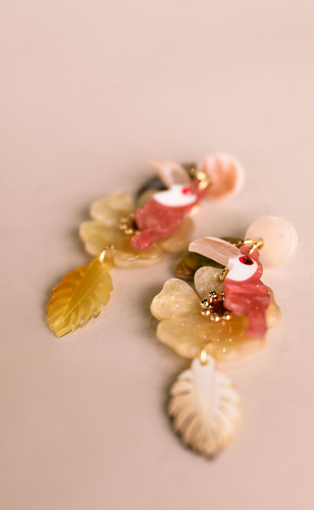 treasure jewels: toucan earrings - pink