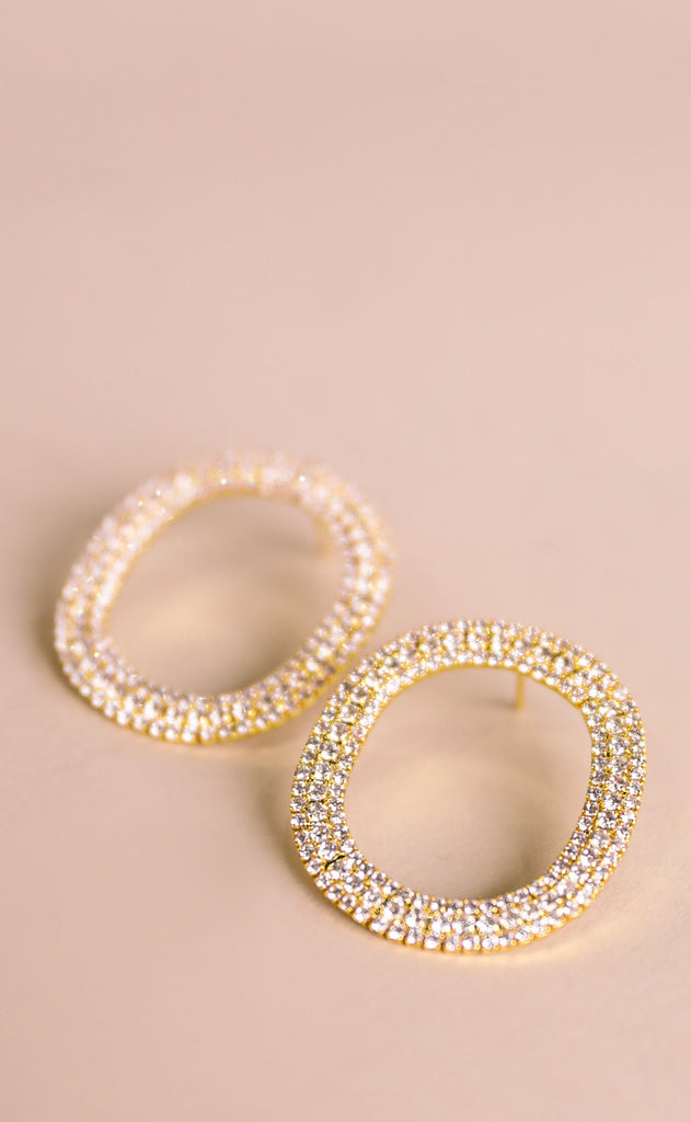 treasure jewels: crystal oval earrings