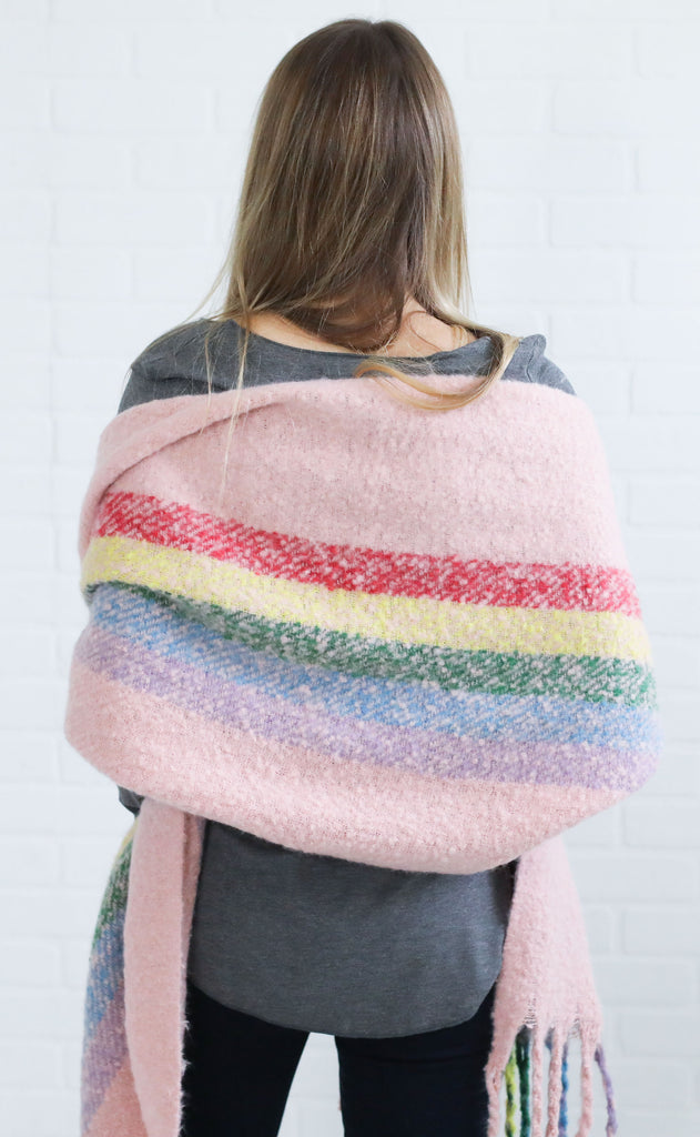 candy land striped scarf - pink stripe