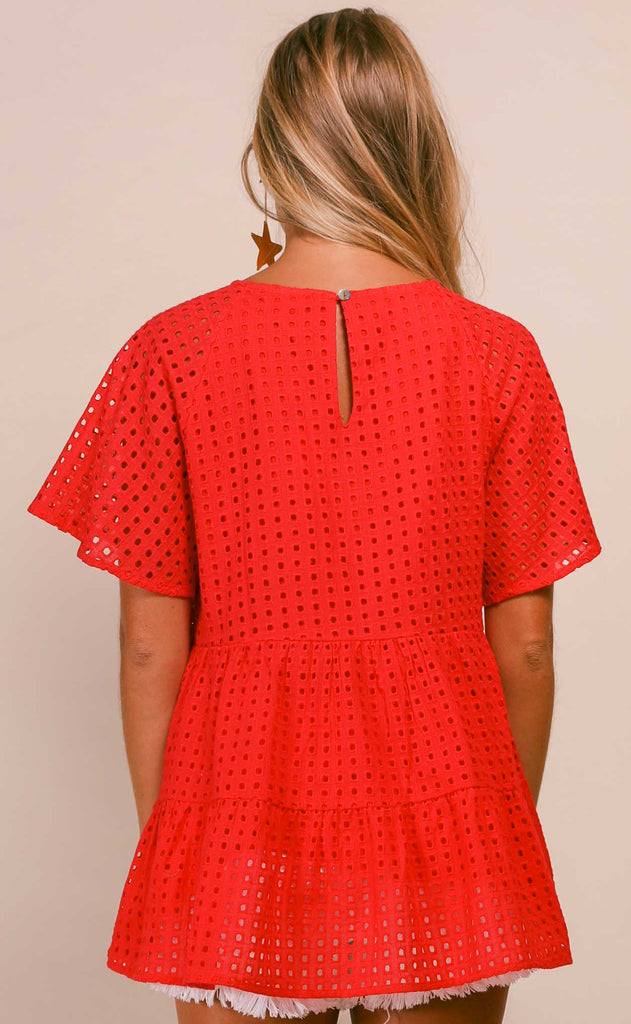 reese eyelet tiered top -red