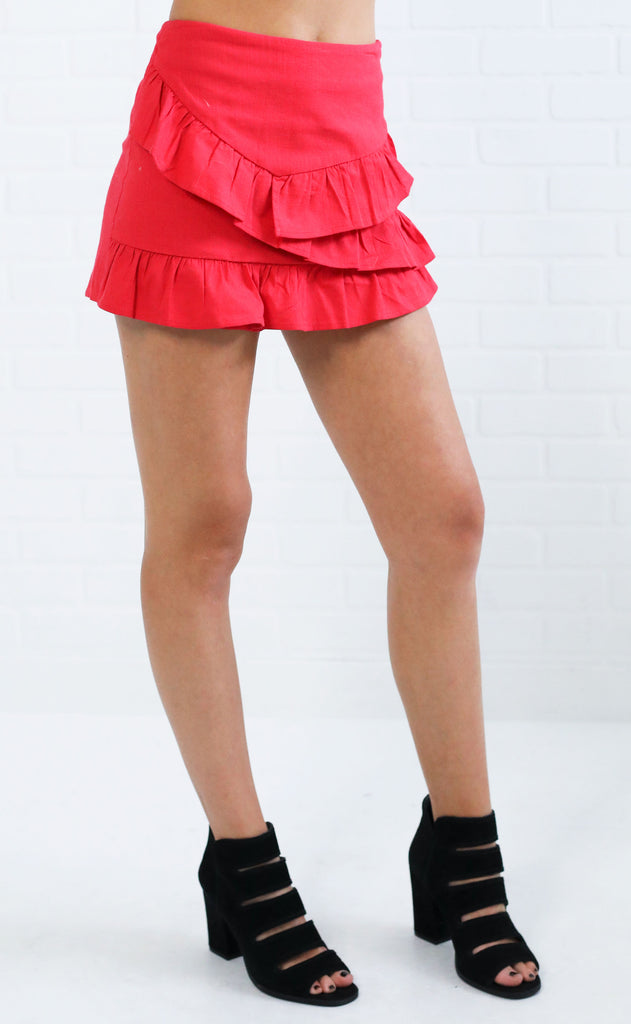 ready to ruffle skort - red