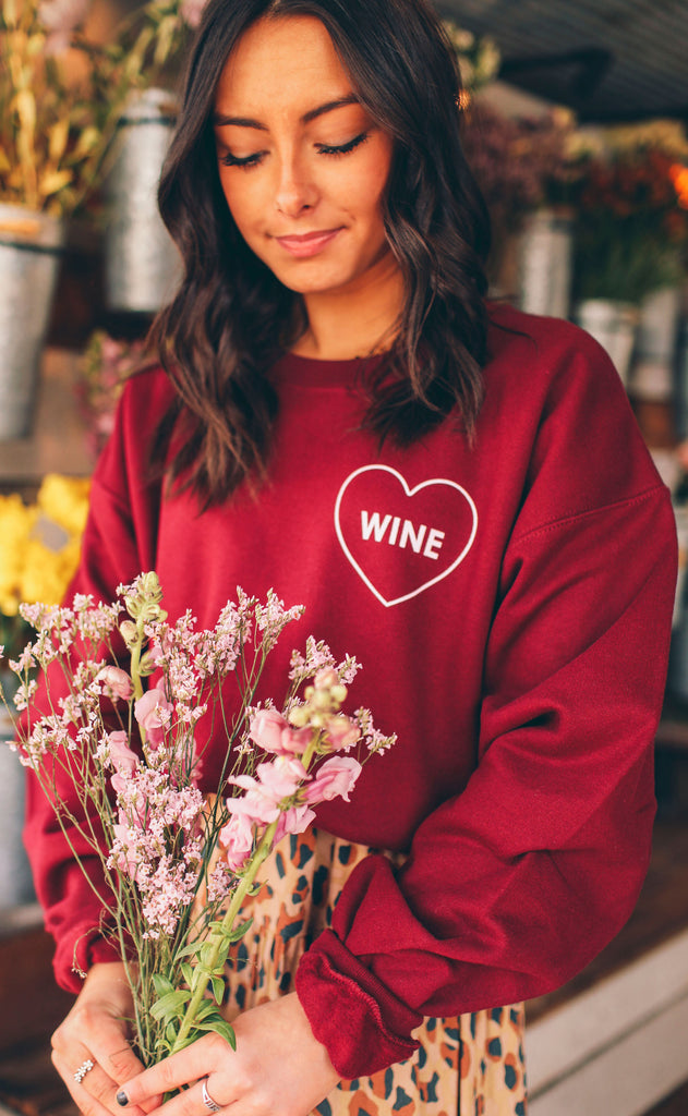 friday + saturday: wine sweatshirt