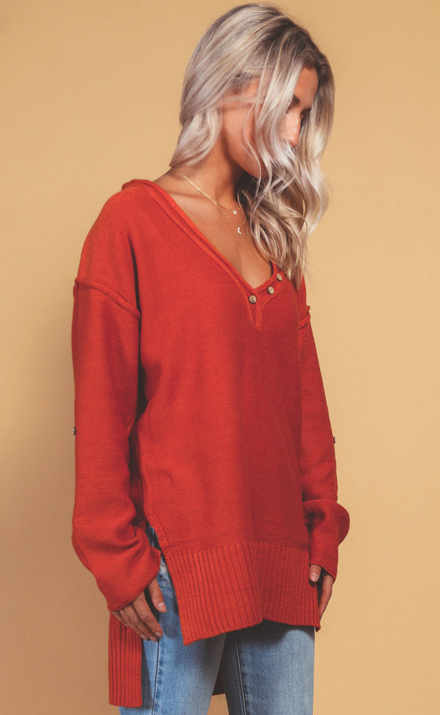 gone hiking knit pullover - rust