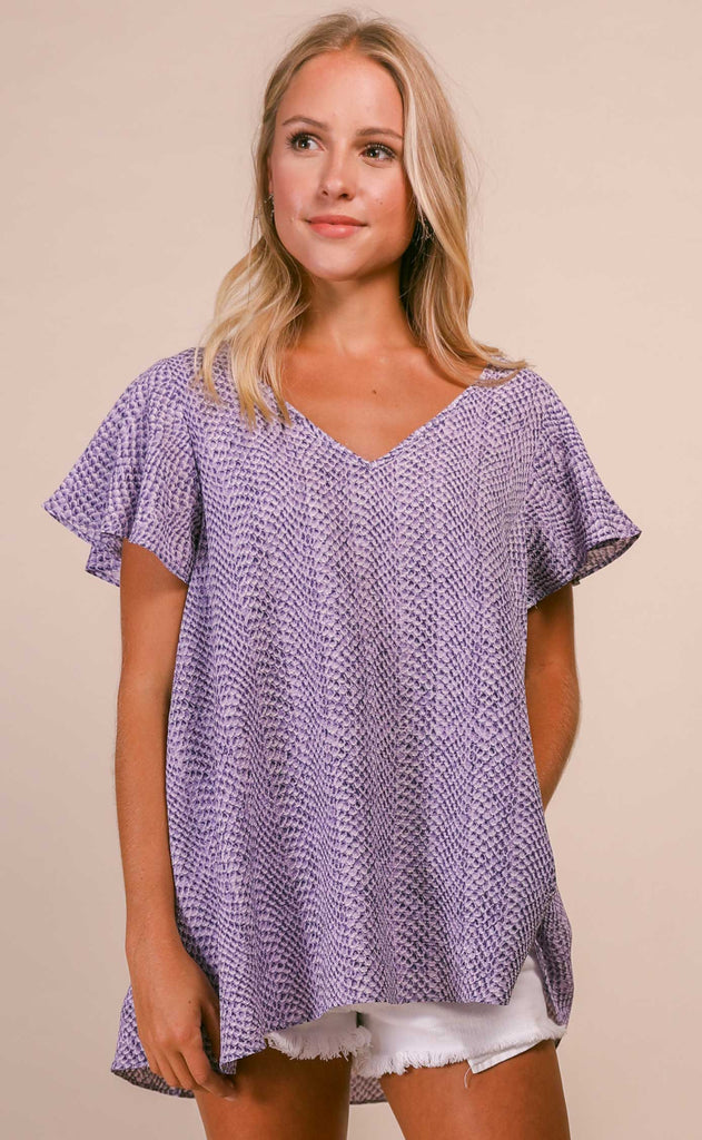 buddylove: avril flutter sleeve v neck top - purple