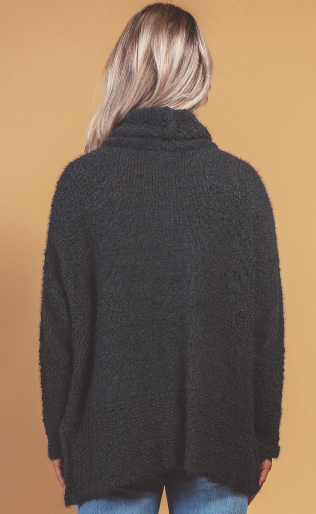 making memories cowl neck pullover - charcoal