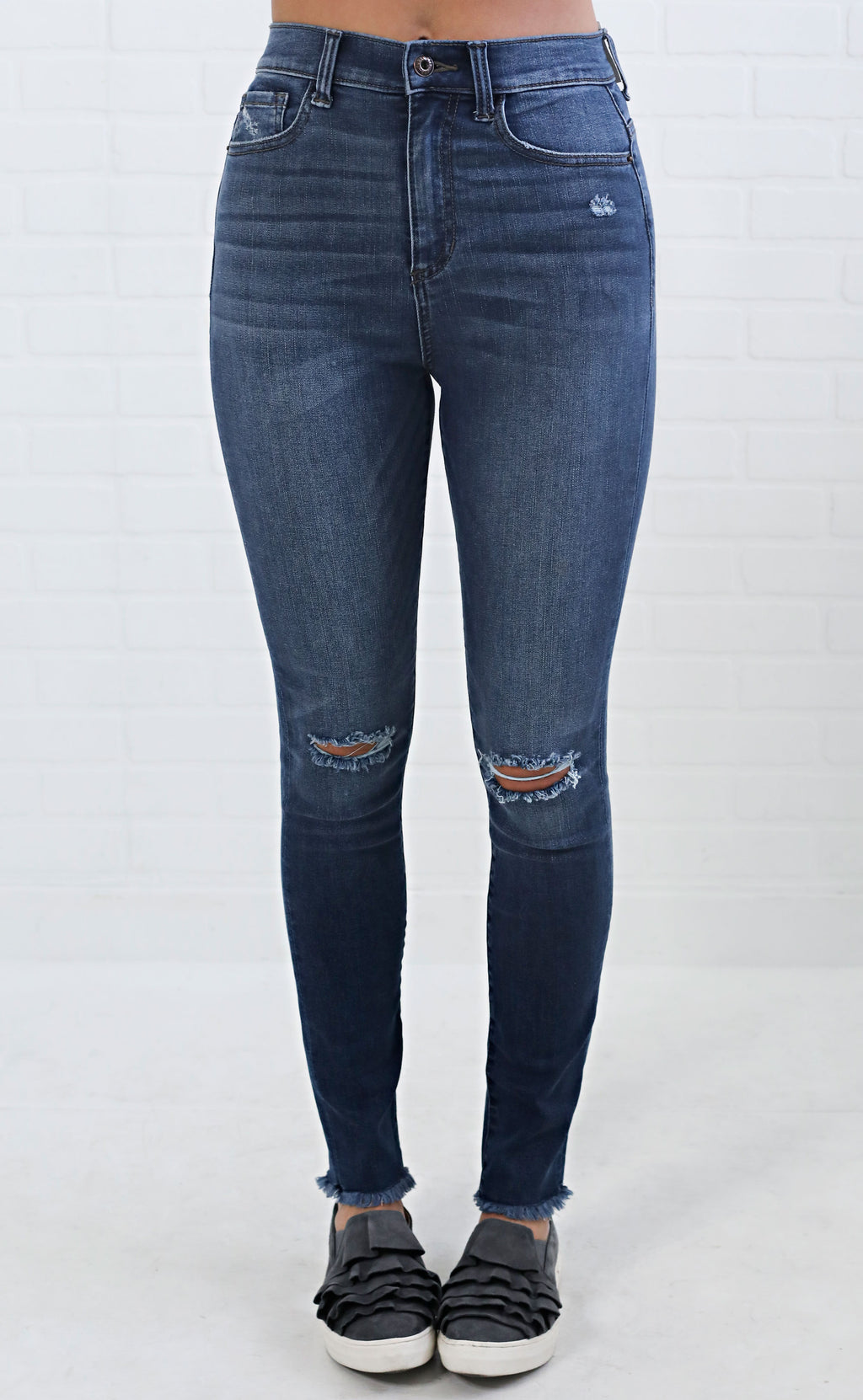 on the coast distressed skinny jeans