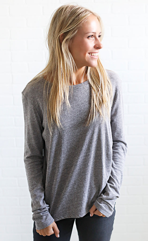 amuse society: ryan long sleeve top - heather grey