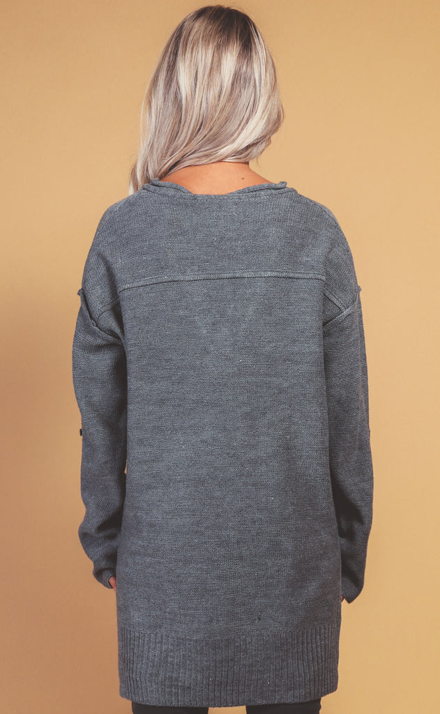 gone hiking knit pullover - charcoal