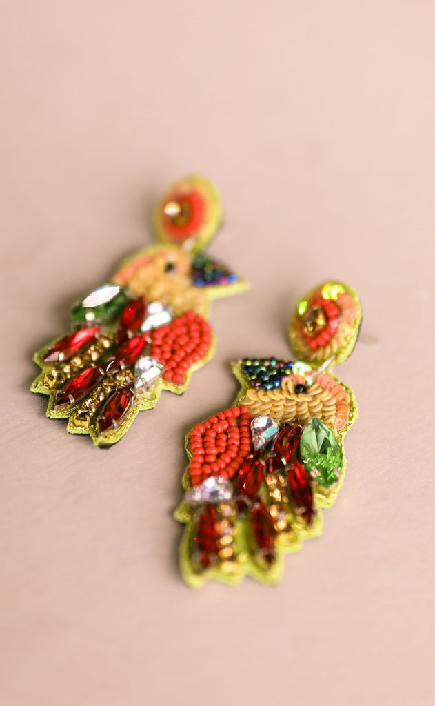 treasure jewels: tropical bird earrings