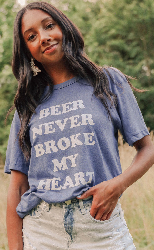 charlie southern: beer never broke my heart t shirt