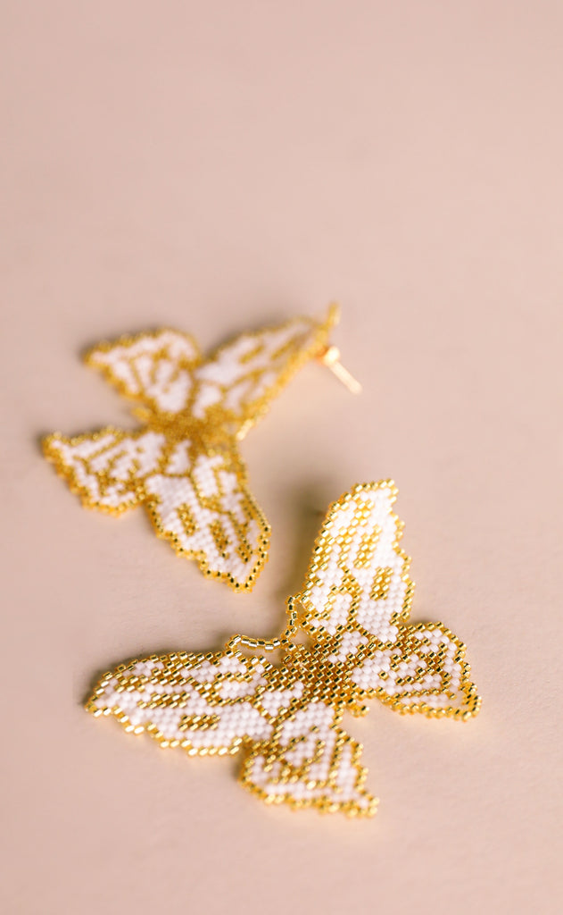 treasure jewels: mariposa earrings - cream