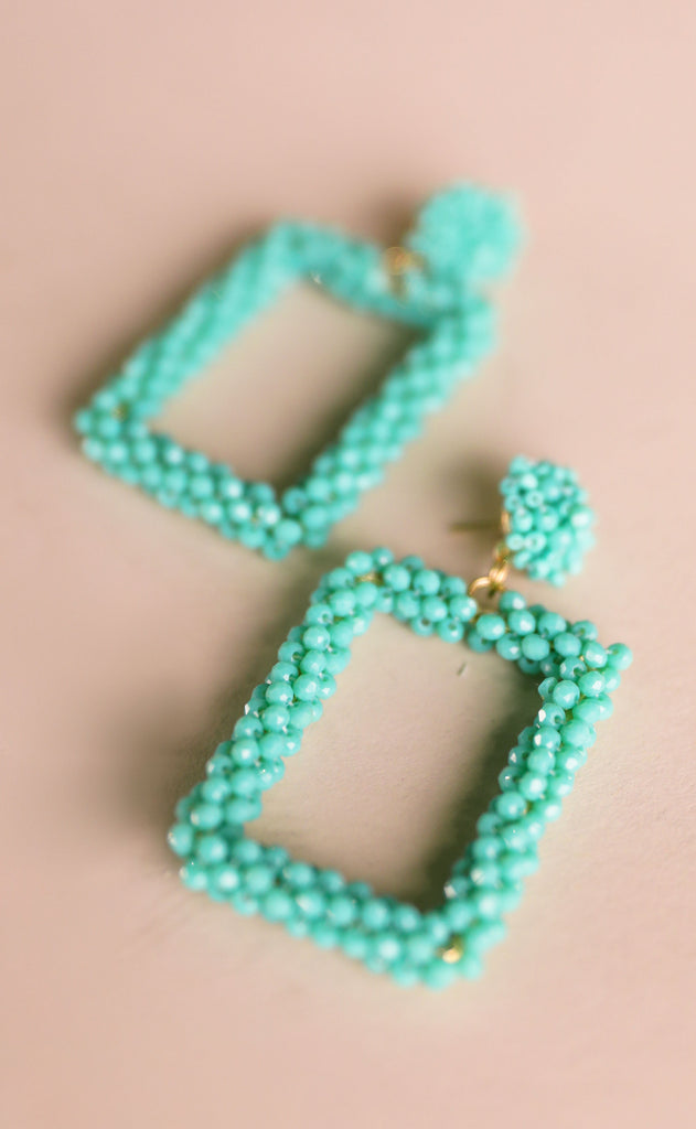 treasure jewels: beaded square earrings - turquoise