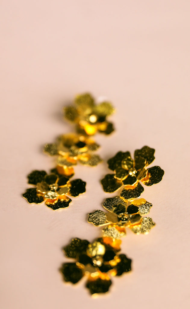 treasure jewels: triple flower earrings
