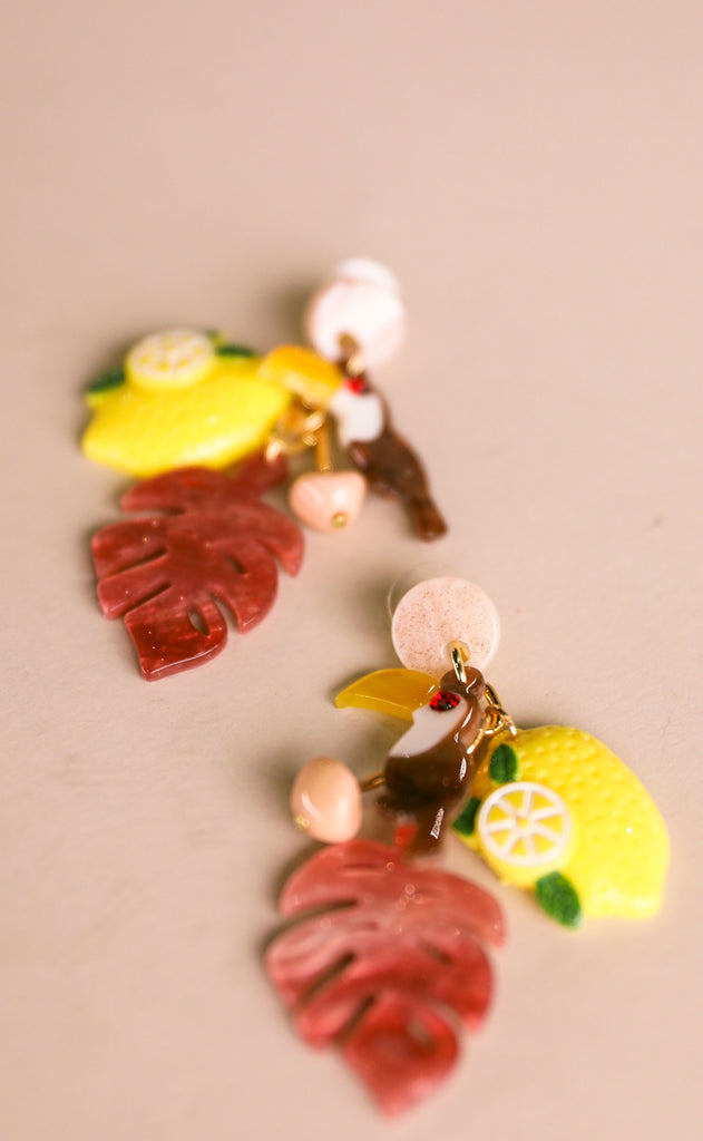 treasure jewels: toucan earrings - lemon