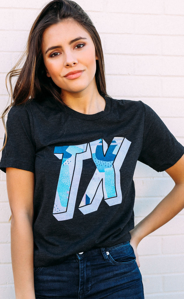 charlie southern: abstract state t shirt - texas