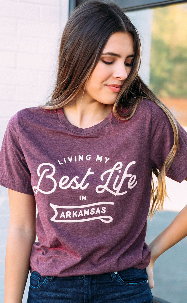 charlie southern: living my best life t shirt - arkansas