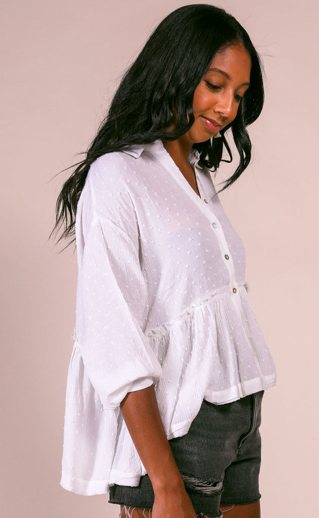 west coast button up top - ivory
