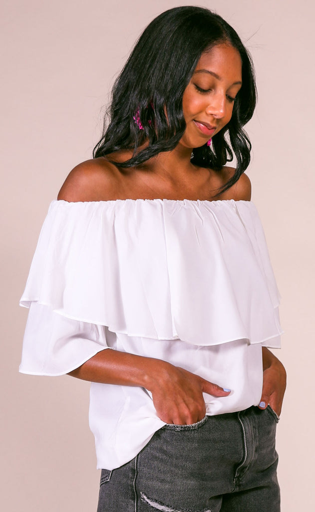 ruffled around off the shoulder top - ivory