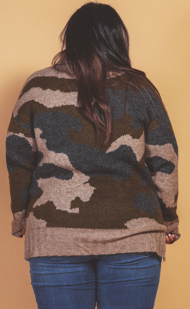 where you at camo sweater - extended