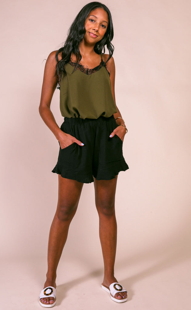 laced cami top - olive