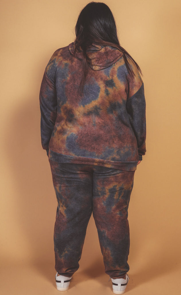 let's warm up tie dye lounge set navy mustard - extended