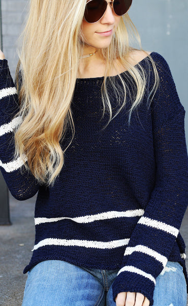 come sail away striped sweater
