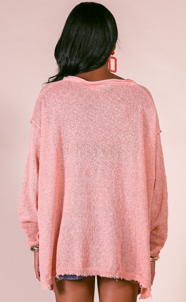 summer nights knit pullover - faded coral