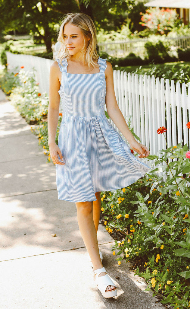 island time striped dress - blue