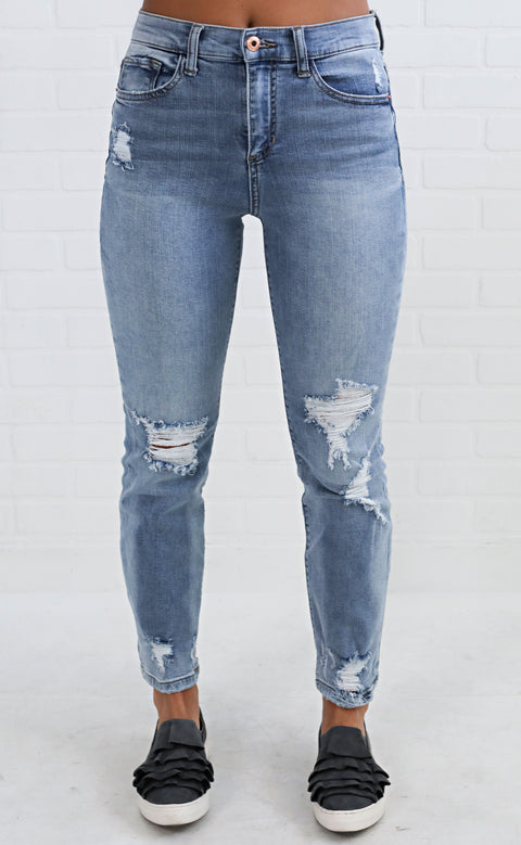 torn up distressed jeans