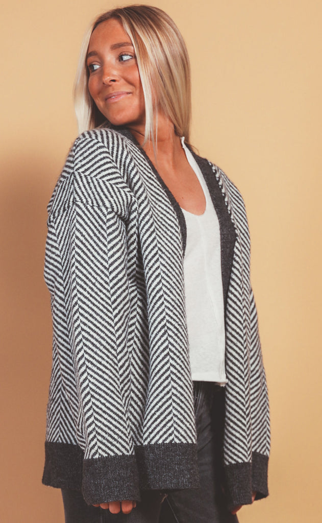 crisp air striped cardigan
