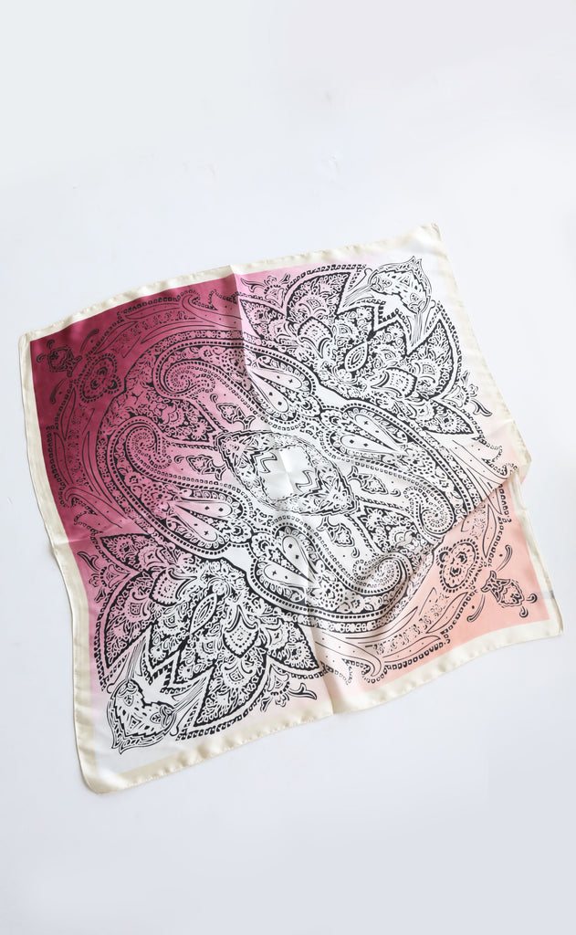 silky scarf - pink ombre paisley