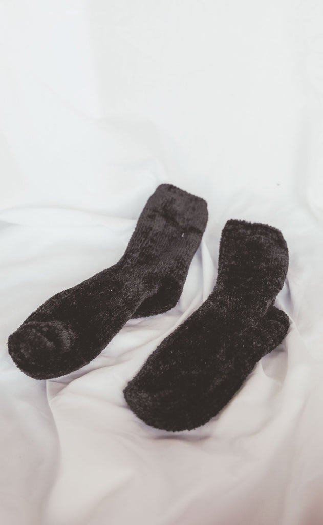 chenille sock - black
