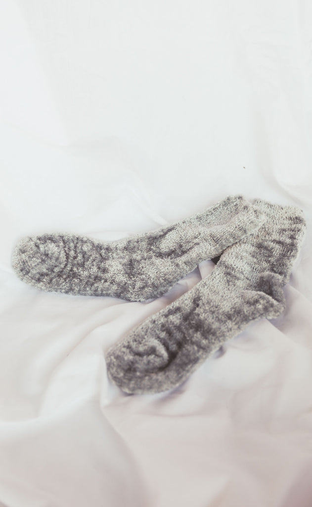 chenille sock - grey