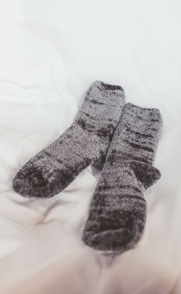 chenille sock - charcoal