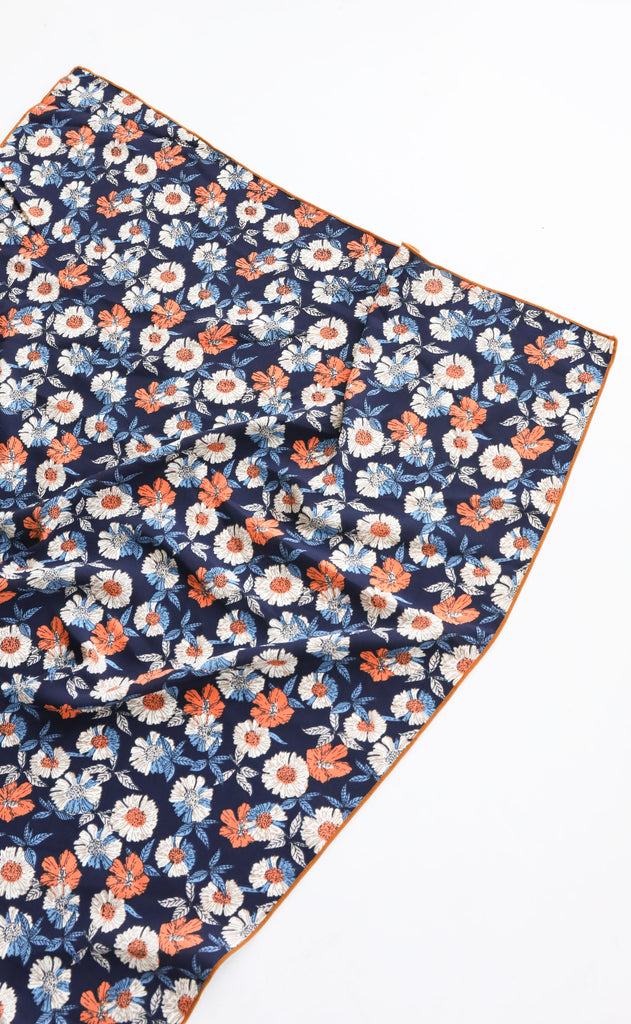 silky scarf - navy floral