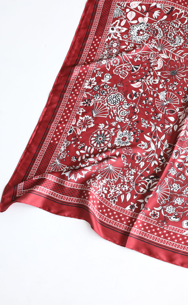silky scarf - dark red paisley