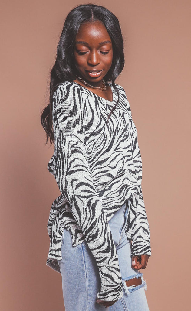 show me your mumu: hug me sweater - coconut zebra knit