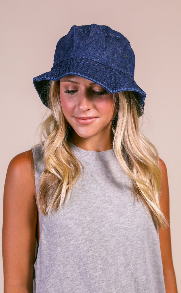 denim bucket hat - dark wash denim