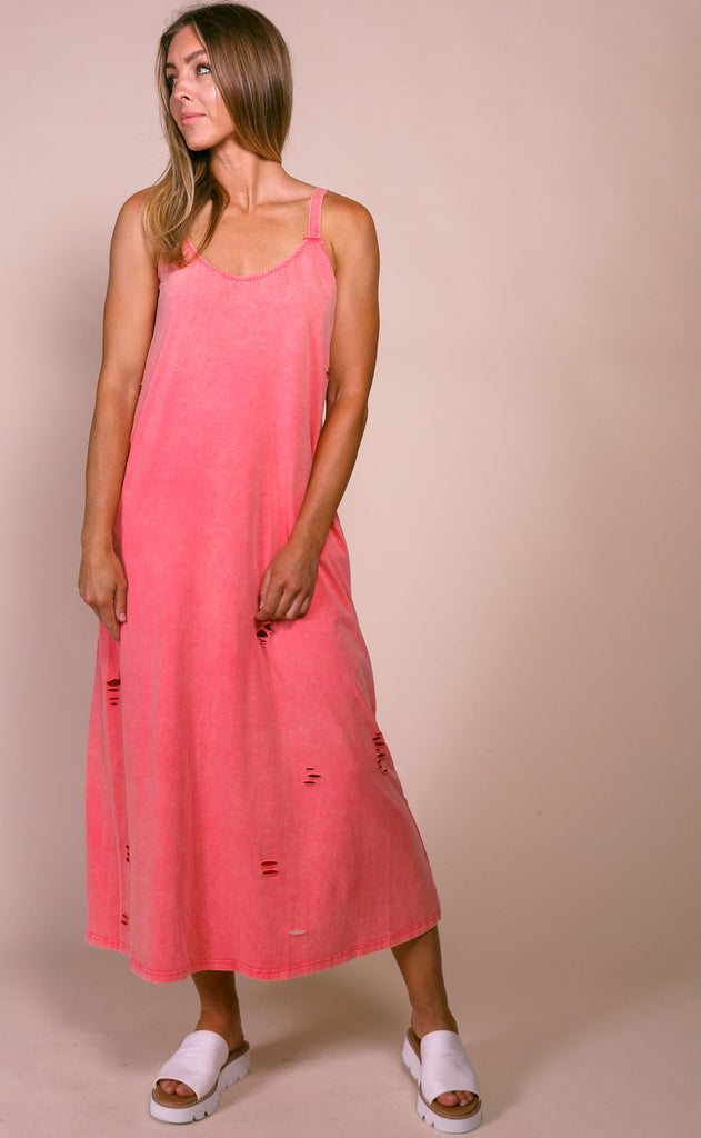 sunset distressed dress - coral