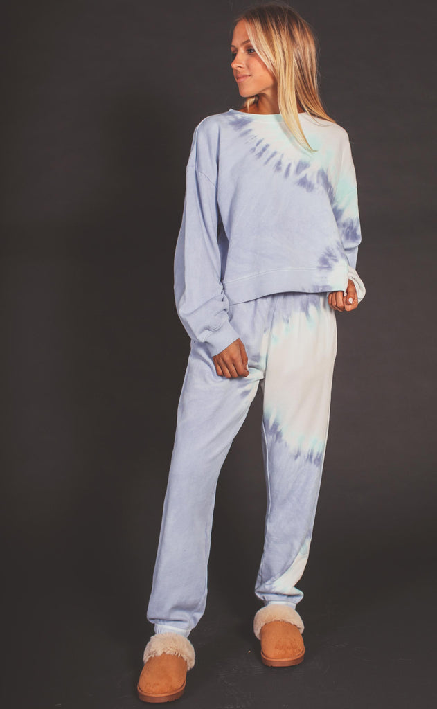 z supply: sunburst tie dye sweatshirt - ice blue