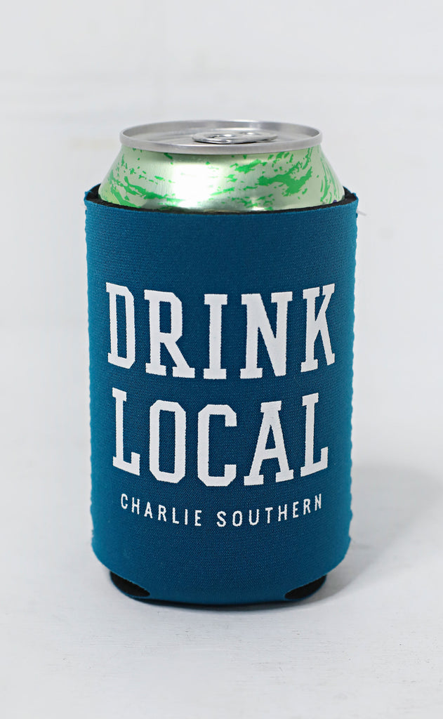 charlie southern: drink local koozie - blue