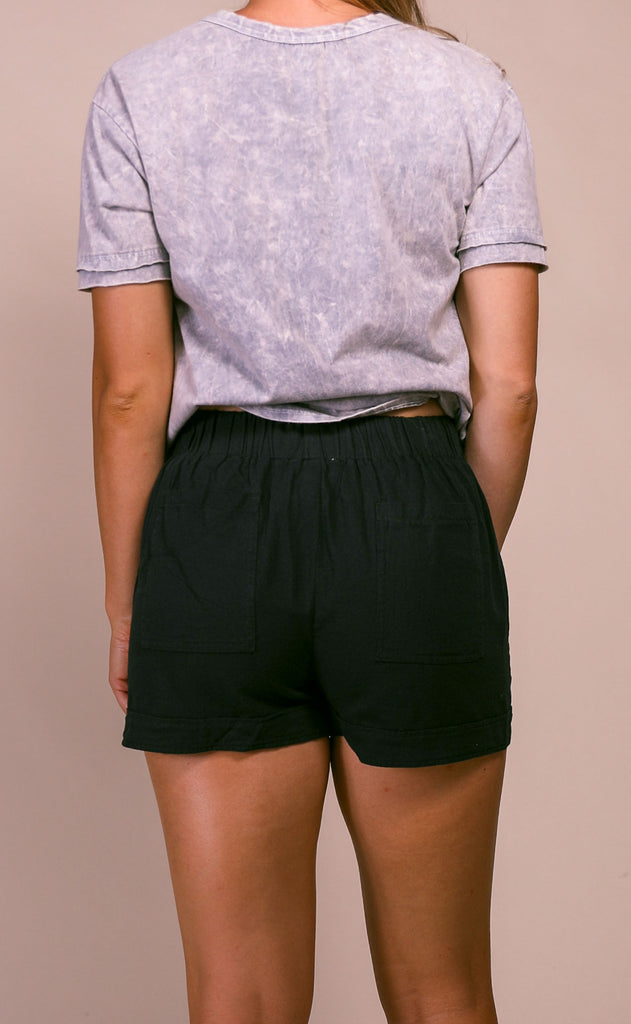 casual cool basic shorts - black