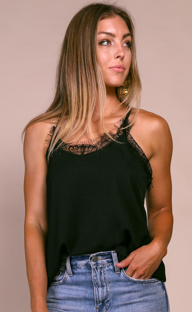 laced cami top - black