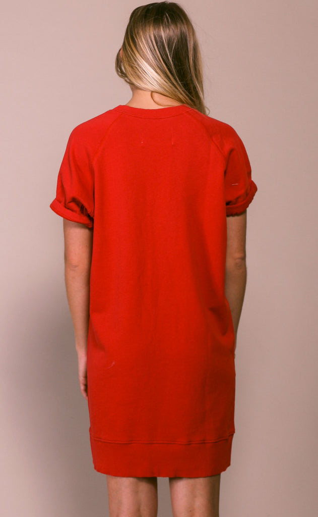 pistola: quinn french terry dress - red