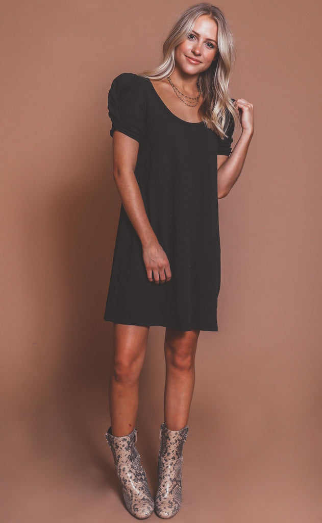 z supply: indi slub puff sleeve dress - black